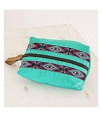 leather accented cotton cosmetic bag, 'turquoise festival' (guatemala)