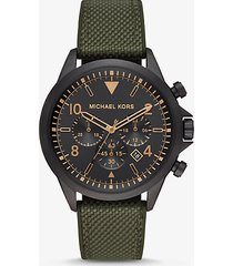 mk orologio gage oversize nero con cinturino in tessuto  - oliva (verde) - michael kors
