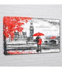 quadro chassi madeira london big bem casa dona vermelho peb 50x70cm