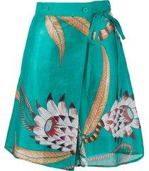 hermès pre-owned floral print skorts - green