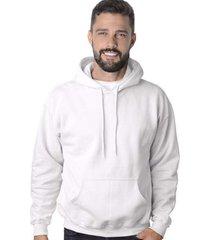 blusa de moletom branco liso suffix com capuz bolso canguru blusão