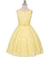 yellow sleeveless floral lace dress with rhinestone head belt flower girl dress