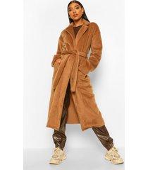 tall lange geborstelde nepwollen jas met ceintuur, camel