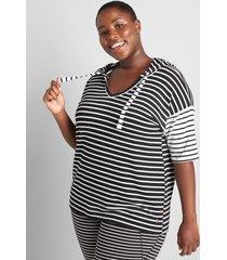 lane bryant women's livi short-sleeve hoodie- blocked stripe 38/40 hunter stripe