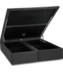 base cama box baú camurça cinza super king 193x203x39 ortobom - tricae