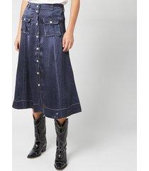 ganni women's heavy satin skirt - total eclipse - eu 40/uk 12