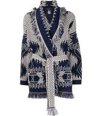 alanui icon open knit cardi-coat - blue