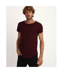 camiseta masculina longa manga curta gola canoa vinho