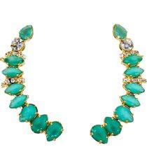 brinco maxi ear cuff verde esmeralda banhado a ouro 18k