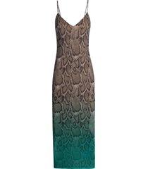 women's afrm amina sleeveless midi dress, size large - blue/green