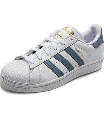 tenis lifestyle blanco-azul adidas originals superstar w