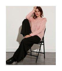blusa ampla texturizada com lurex e babado manga bufante gola alta mindset rosê