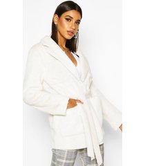 faux suede lined faux fur belted wrap coat, cream