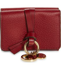 women's chloe mini alphabet leather trifold wallet - red
