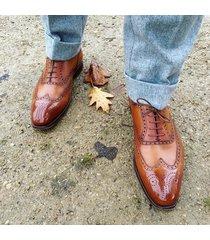 handmade men tan color wingtip brogue formal dress shoes, men formal shoes