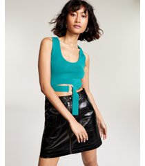 bar iii belted sweater crop top, created for macy's