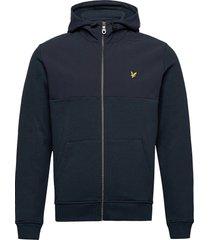 softshell jersey zip hoodie hoodie trui blauw lyle & scott