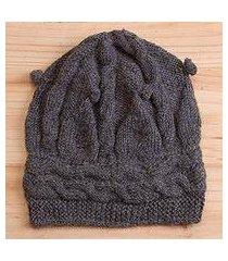 100% alpaca hat, 'slate braids' (peru)