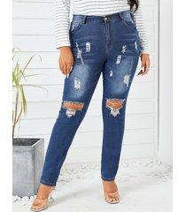 denim rasgado al azar de talla grande pantalones