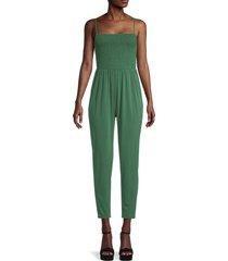 bcbgeneration women's smocked jersey jumpsuit - palm - size s