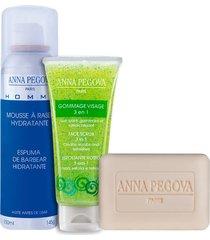 kit anna pegova - sabonete dermatológico pain nettoyant 75g + esfoliante facial gommage visage 40ml + espuma de barbear pegoff 150ml.