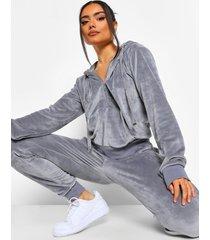 velours hoodie en joggingbroek lounge set, dark grey