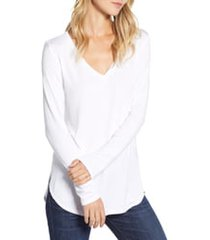 halogen(r) v-neck tunic, size xx-small in white at nordstrom