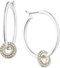 dkny two-tone crystal charm hoop earrings