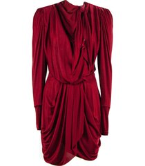isabel marant red draped silk blend dress