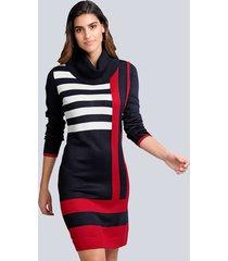 gebreide jurk alba moda marine::rood::offwhite