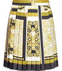 versace barocco print pleated silk skirt