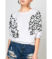 dolman sleeve letters print t-shirt