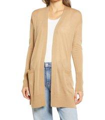 women's halogen open front cardigan, size medium - beige