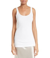 women's vince pima cotton & modal tank, size x-small - white