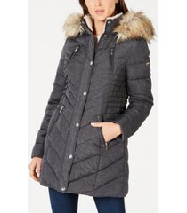 laundry by shelli segal faux-fur trim hooded puffer coat