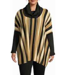 joseph a women's metallic stripe-print poncho sweater - tapenade speckles - size 1x (14-16)