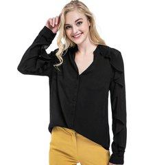 blusa manga con vuelos negro nicopoly