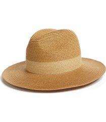 women's halogen packable panama hat - brown
