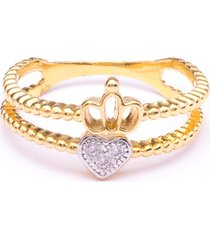 anel boca santa coroa do amor ouro amarelo