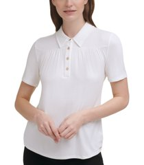 calvin klein solid button-front collared top