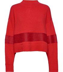 fs bridge logo-wool nylon mix gebreide trui rood j. lindeberg