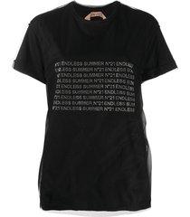 nº21 rhinestone endless summer t-shirt - black