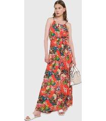 vestido naranja-multicolor paris district