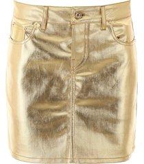 paco rabanne gold-tone denim mini skirt