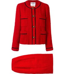 chanel pre-owned 1993 contrasting trimming skirt suit - red