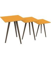 conjunto de mesa quadrada 3 peças pinoquio amarelo