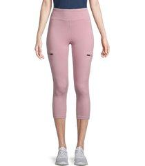 nine west women's high waisted capri leggings - mauve - size m