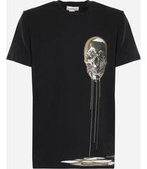 alexander mcqueen cotton t-shirt with skull embellishment