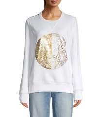 versace jeans couture women's metallic graphic sweatshirt - white - size s