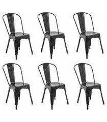 conjunto 06 cadeiras iron preta rivatti